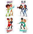 cartoon a couples dancing tango rumba vector image