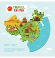 China travel map with traditional Chinese vector image