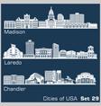 cities usa - madison laredo chandler vector image vector image