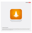 cone icon orange abstract web button vector image