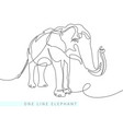 continuous one line drawing of indian elephant vector image vector image