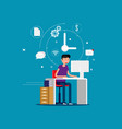 designer man working with creative process icons vector image