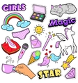 Fashion Girls Badges Patches Stickers - Rainbow vector image vector image