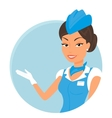 Female stewardess wearing blue suit Round icon vector image