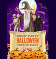 halloween candies in pumpkin wizard mummy death vector image vector image