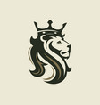 head a lion with a royal crown vector image