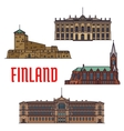 Historic buildings and architecture of Finland vector image vector image