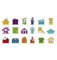 house icon set color outline style vector image vector image