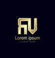initial letter rv logo template design vector image