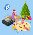 isometric merry christmas happy family concept vector image vector image