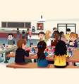 kids eating at the school cafeteria vector image