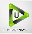 Letter u logo symbol in the colorful triangle on