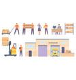 logistics workers merchandise warehouse building vector image
