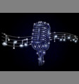 microphone and music notes polygonal art vector image vector image