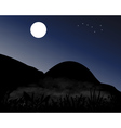 Mountains at night in the moonlight vector image