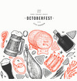 octoberfest banner hand drawn greeting beer vector image vector image