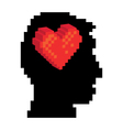 Pixel head and heart vector image vector image