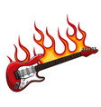 red bass guitar in flames