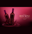 red wine bottles mockup flasks with alcohol drink vector image