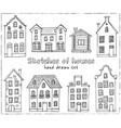 set hand drawn buildings vector image