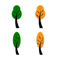 set of spring green and yellow autumn trees flat vector image vector image