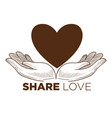 share love charity action isolated icon heart and vector image vector image