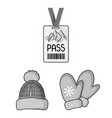 ski resort and equipment monochrome icons in set vector image
