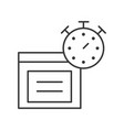 stopwatch and parcel box line icon estimate vector image vector image