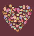 Sweets assortment of chocolates candy ice-cream vector image vector image