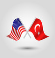 two crossed american and turkish flags vector image vector image