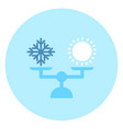 weather icon sun and snow on balance scale vector image