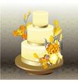 Wedding cake with yellow iris flower design vector image vector image