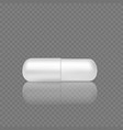white realistic pill 3d render capsule tablet vector image