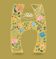yellow letter h with floral decor and necklace vector image vector image