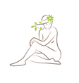 a silhouette of a seated woman with leaves in her vector image