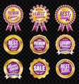 set of excellent quality violet badges with gold vector image