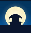 beach bar silhouette banner with moon on the vector image