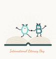international literacy day with letter characters vector image