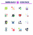 16 flat color coronavirus covid19 icon pack vector image vector image