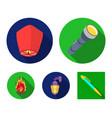 a flashlight an air lantern a lantern on the vector image