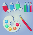 art supplies and colors elements vector image
