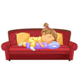 bagirl sleeping on couch vector image