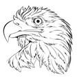 bald eagle head hand draw black line on white