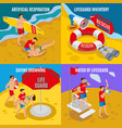 beach lifeguards 2x2 design concept vector image vector image