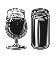 beer can and glass with foam elements vector image