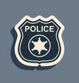 black police badge icon isolated on grey vector image vector image