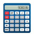 blue plastic calculator with colored buttons vector image