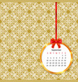 calendar 2017 in golden circle frame with red bow vector image vector image