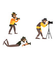 cartoon photographers making photo set vector image vector image