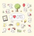 cat sticker set vector image